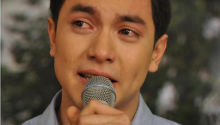 Alden Richards crying while singing.