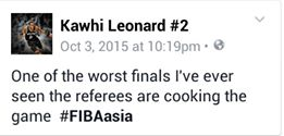 Kawhi Leonard of FIBA Asia Finals officiating