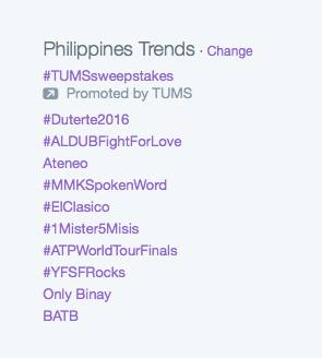 Duterte2016 trended on Twitter