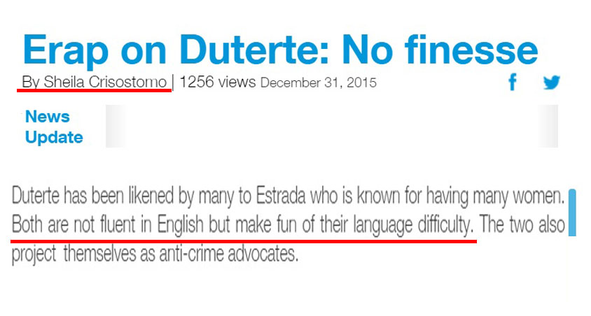 Philstar reporter compared Duterte's fluency in English to Erap