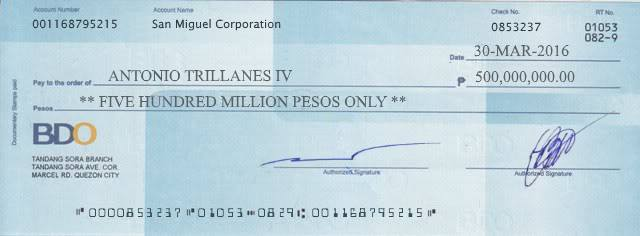 Senator Trillanes bank check