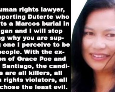 Human rights lawyer defends choice of supporting Duterte