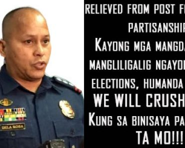 Chief Sup. Ronald Dela Rosa relieved for alleged partisanship