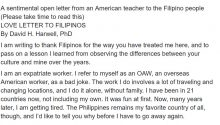 American teacher writes sentimental open letter to Filipinos, OFWS