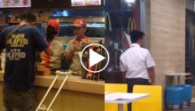 McDonald guard turn away beggar customer