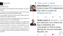 Teddy Boy Locsin silences critics criticizing Duterte for skipping Luneta rites