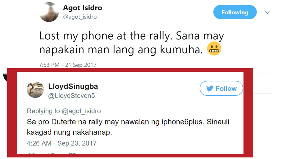 Agot Isidro lost her iPhone while attending anti-Duterte rally