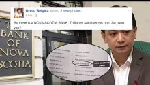 Netizen refutes Trillanes' dismissive statement that Nova Scotia Bank is non existent
