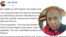 Jay Sonza warns Duterte opposition
