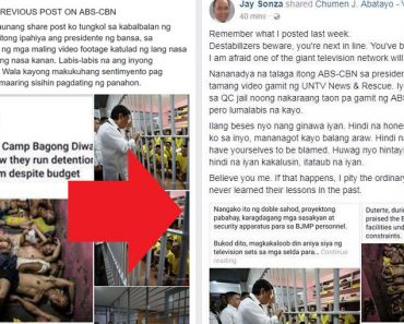 Jay Sonzas deleted Facebook post against ABS-CBN resurfaces