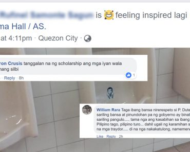 Duterte face adorns UP D urinals