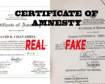 sample of real Certificate of Amnesty